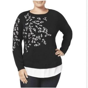 Charter Club Embroidered Layered Black Sweater 0X